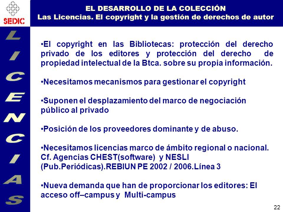 EL DESARROLLO DE LA COLECCIÓN Las Licencias