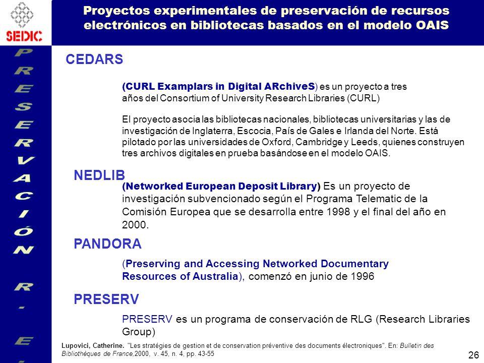 PRESERVACIÓN R. E. CEDARS NEDLIB PANDORA PRESERV