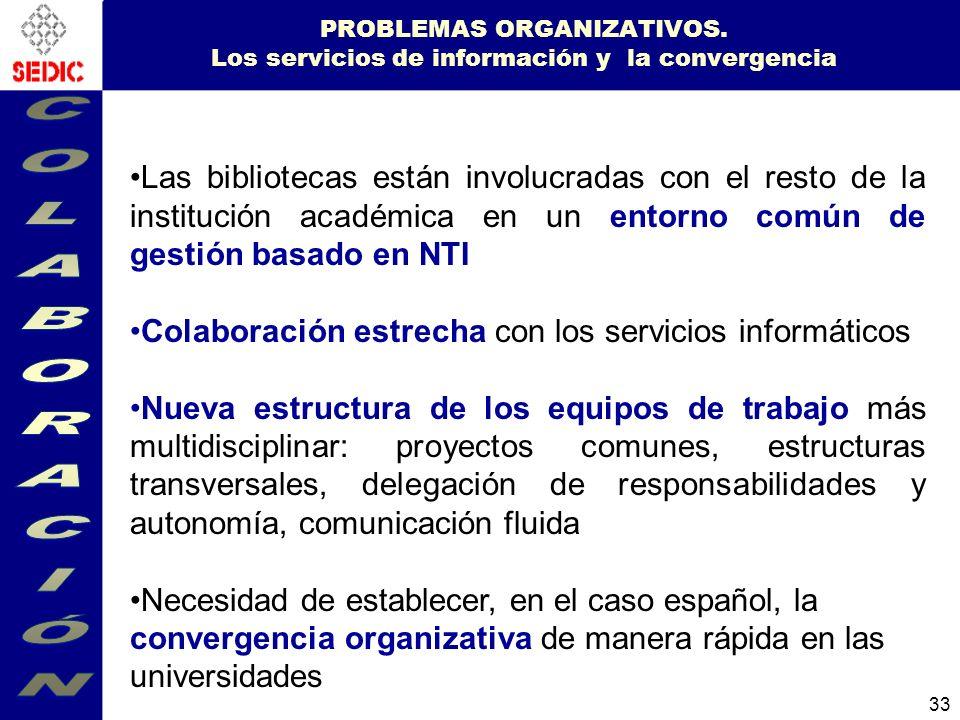PROBLEMAS ORGANIZATIVOS. Los servicios de información y la convergencia