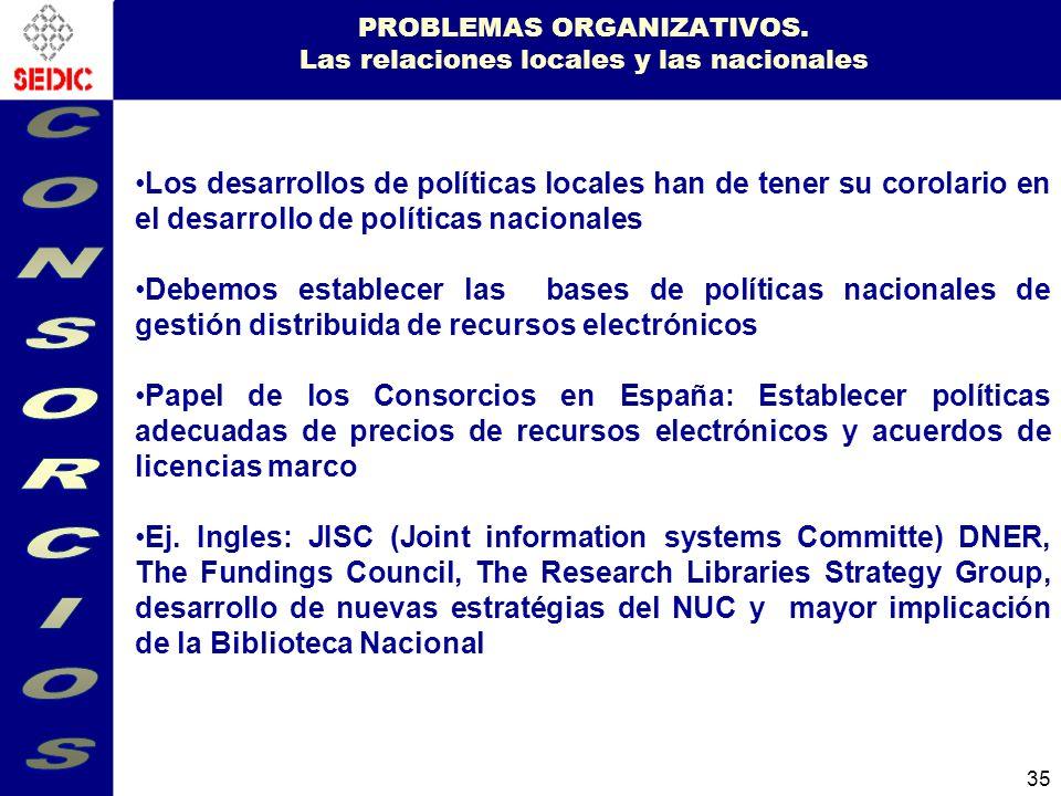 PROBLEMAS ORGANIZATIVOS. Las relaciones locales y las nacionales