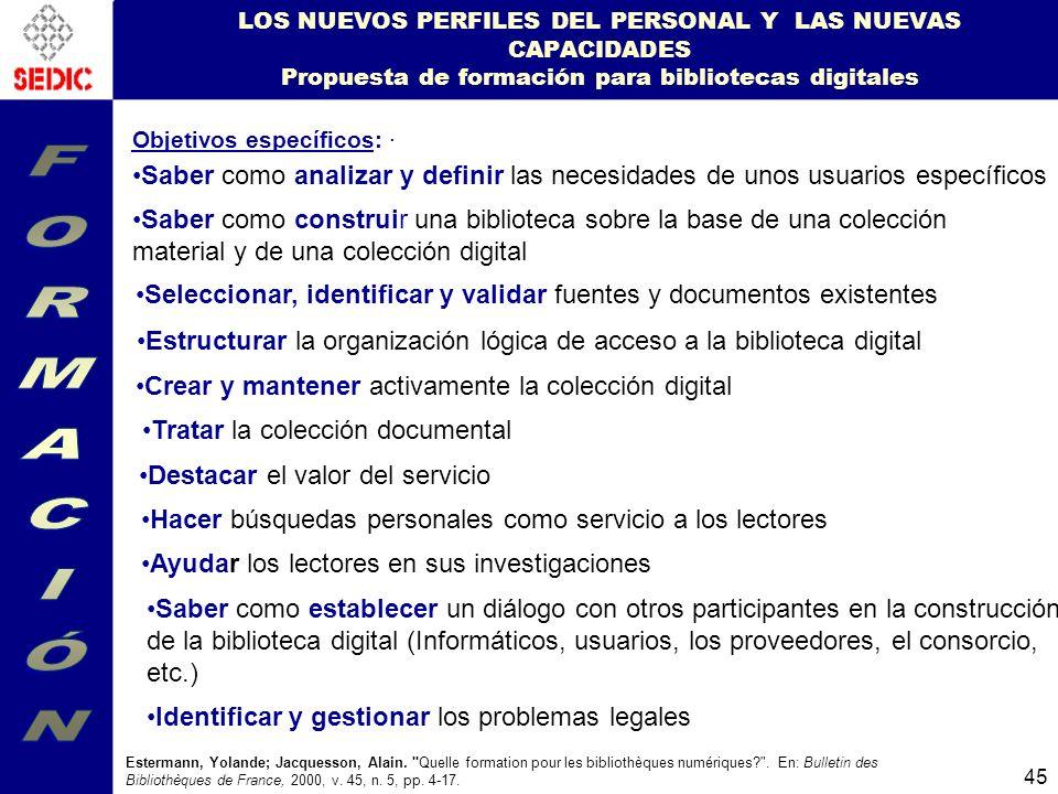 LOS NUEVOS PERFILES DEL PERSONAL Y LAS NUEVAS CAPACIDADES Propuesta de formación para bibliotecas digitales