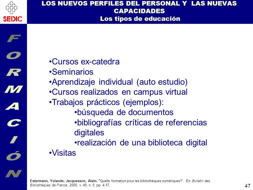 FORMACIÓN Cursos ex-catedra Seminarios