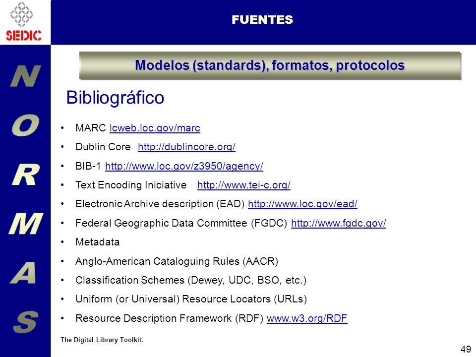 Modelos (standards), formatos, protocolos