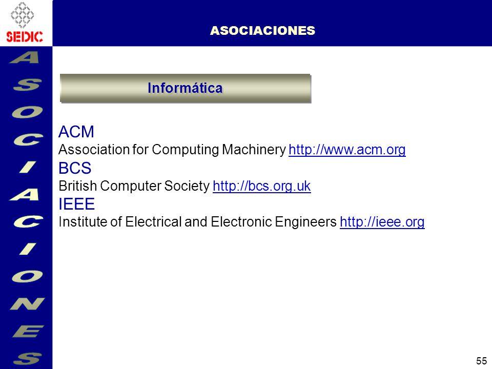 ASOCIACIONES ACM BCS IEEE Informática