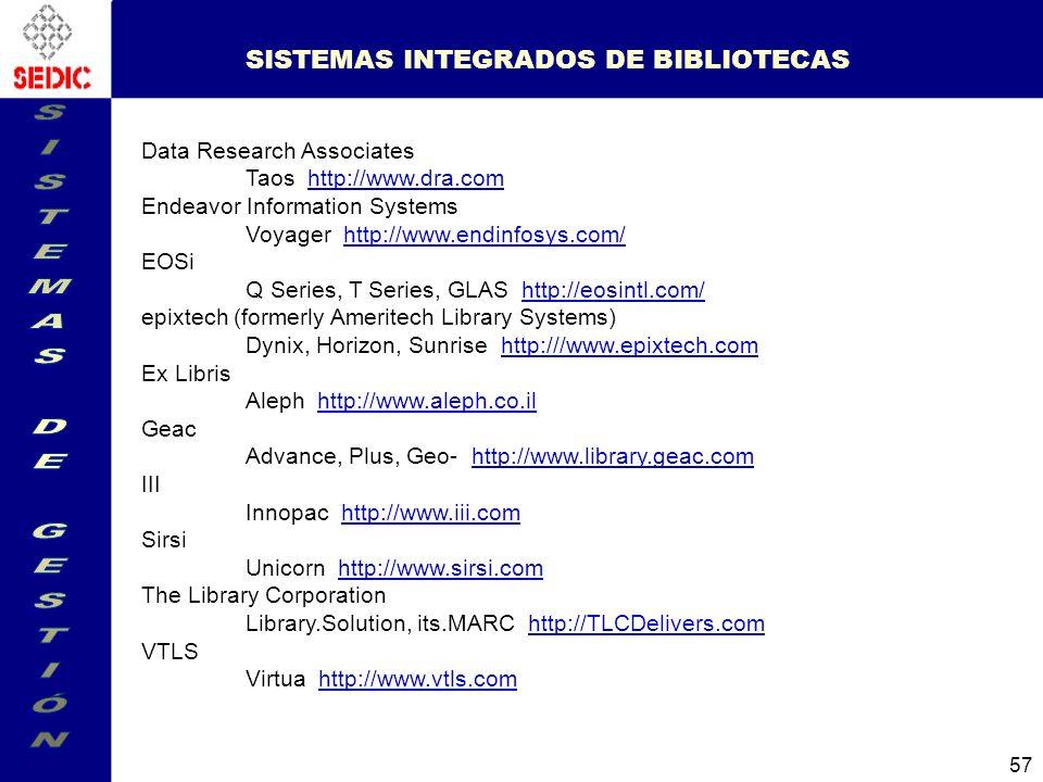 SISTEMAS INTEGRADOS DE BIBLIOTECAS