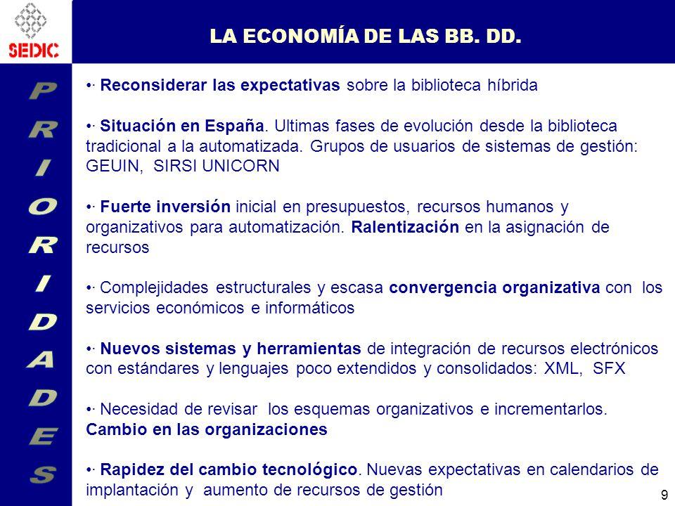PRIORIDADES LA ECONOMÍA DE LAS BB. DD.