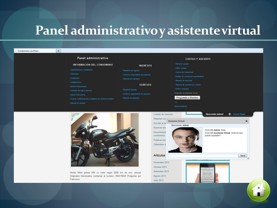 Panel administrativo y asistente virtual