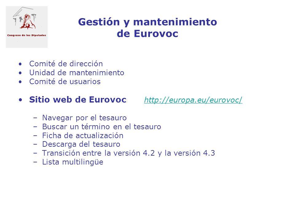 Gestión y mantenimiento de Eurovoc