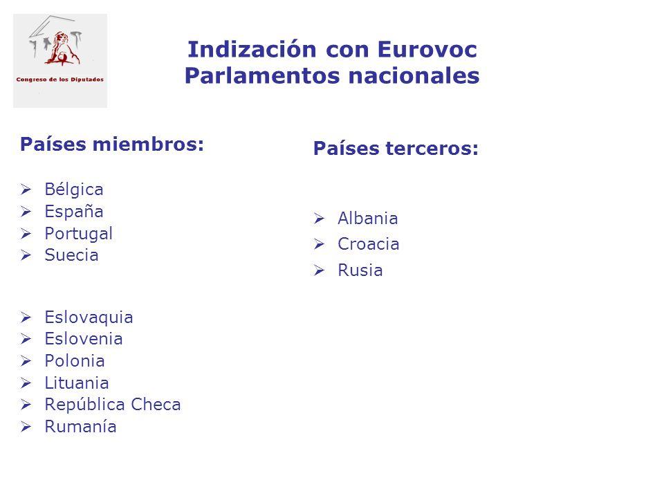Indización con Eurovoc Parlamentos nacionales
