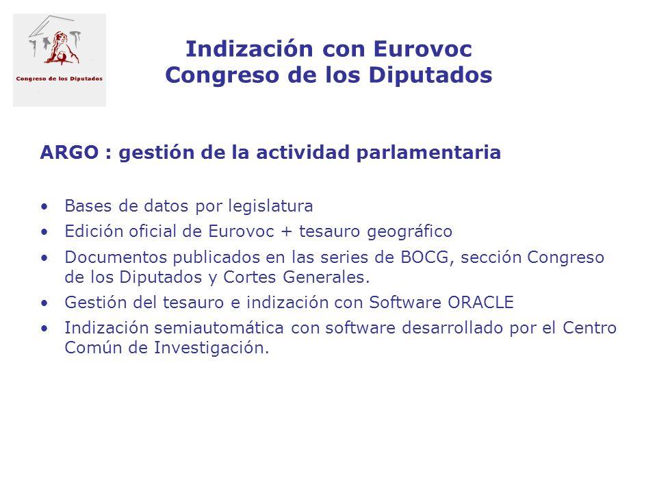 Indización con Eurovoc Congreso de los Diputados