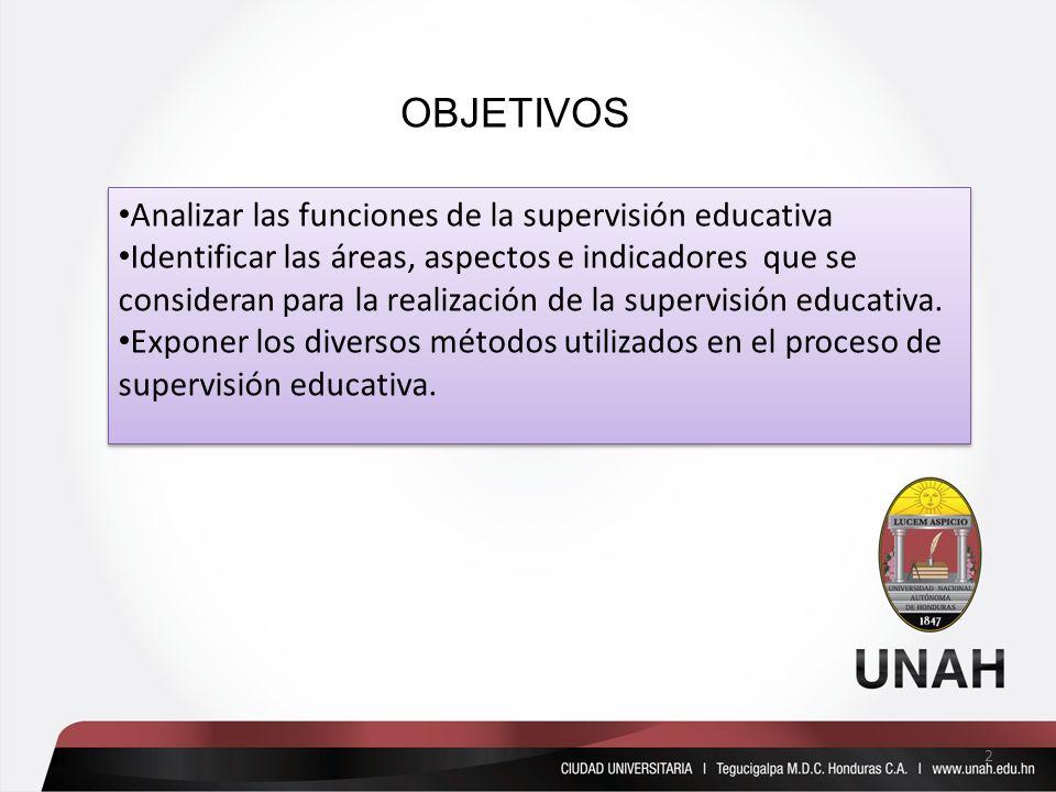 OBJETIVOS Analizar las funciones de la supervisión educativa