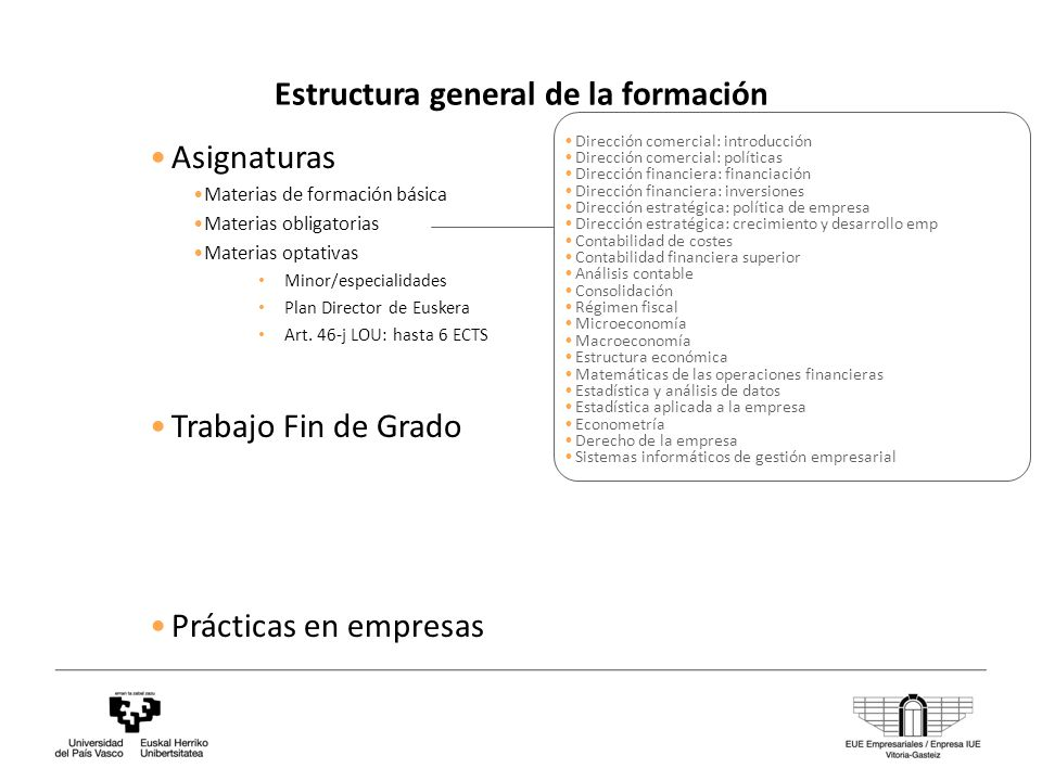 Estructura general de la formación