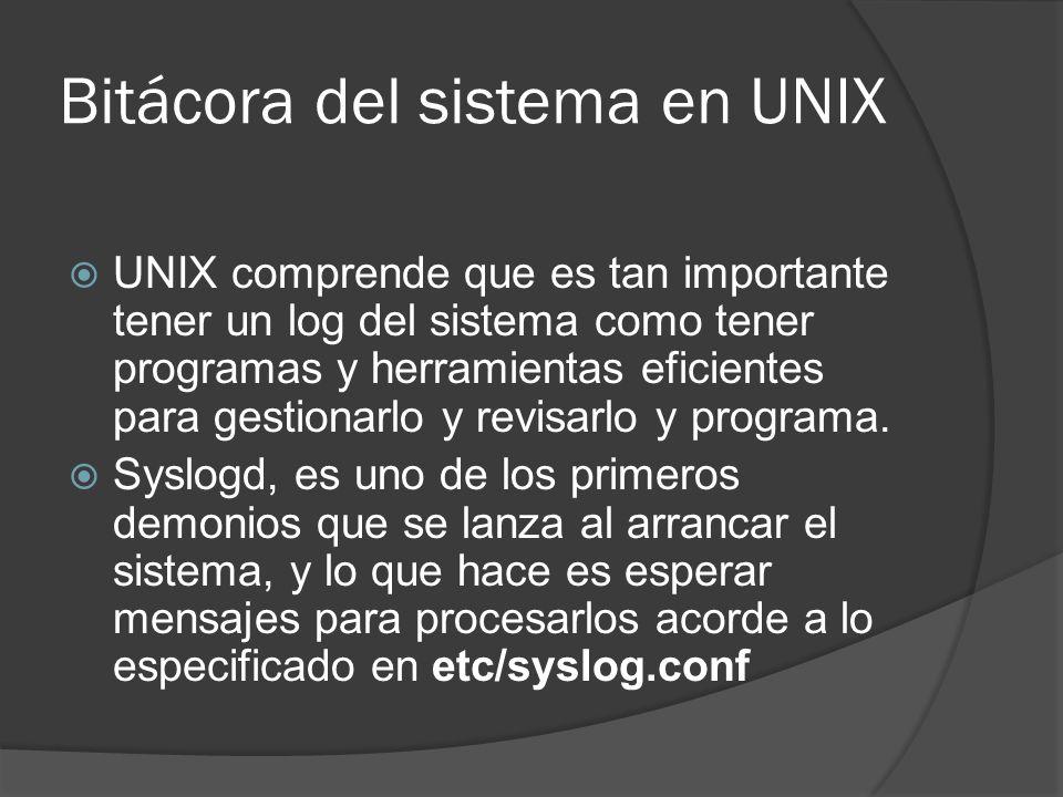 Bitácora del sistema en UNIX