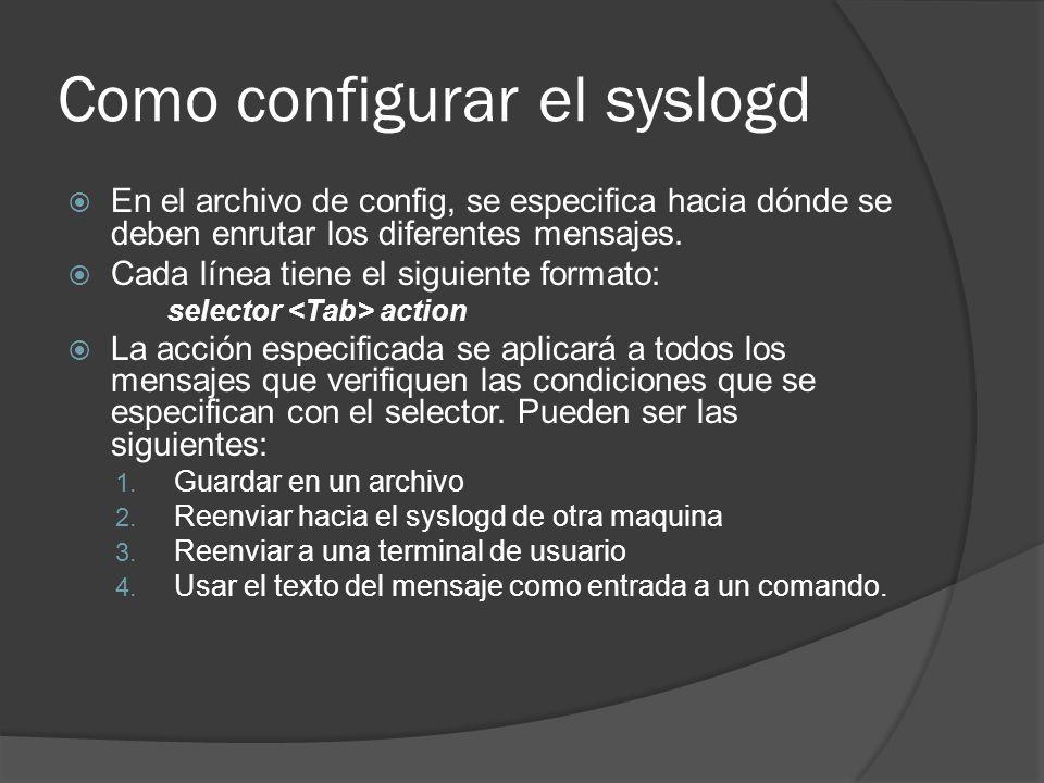 Como configurar el syslogd