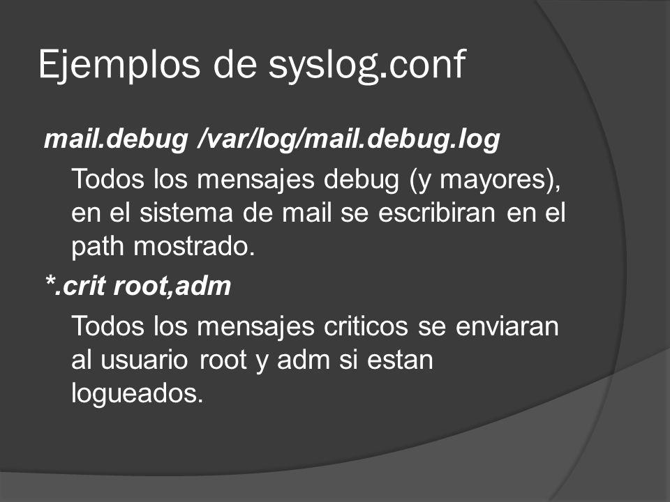Ejemplos de syslog.conf