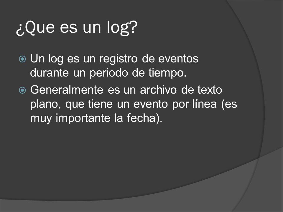 ¿Que es un log Un log es un registro de eventos durante un periodo de tiempo.