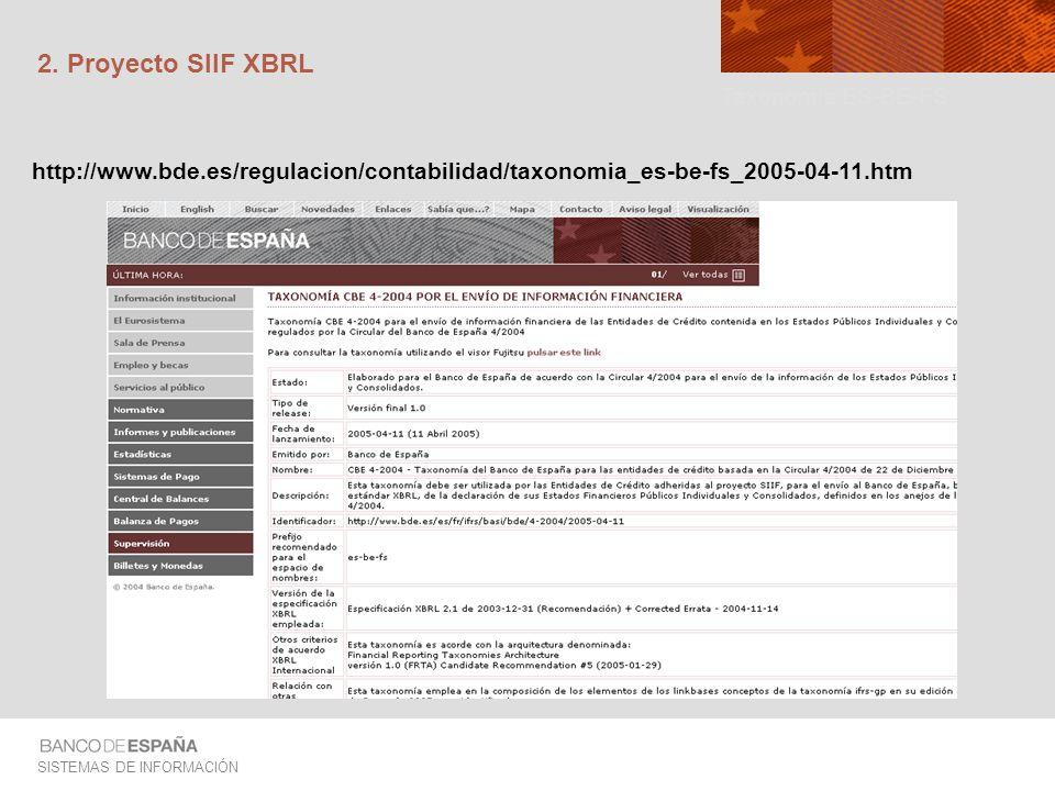 2. Proyecto SIIF XBRL Taxonomía ES-BE-FS