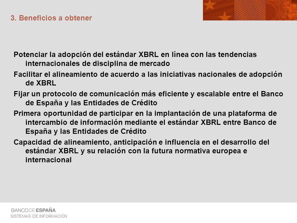 3. Beneficios a obtener Potenciar la adopción del estándar XBRL en línea con las tendencias internacionales de disciplina de mercado.