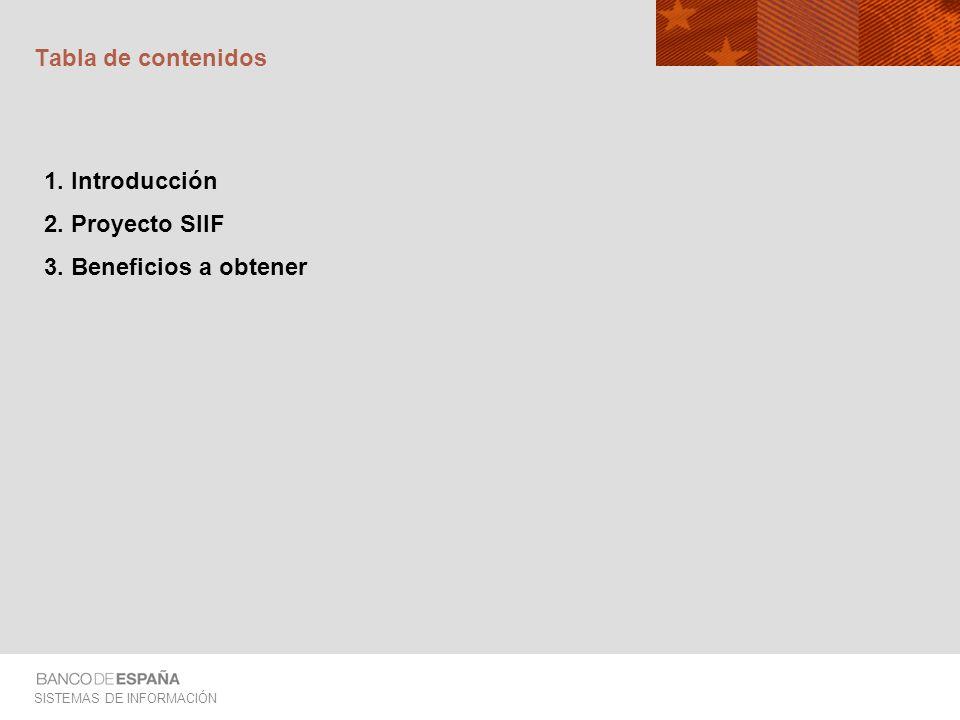 Tabla de contenidos 1. Introducción 2. Proyecto SIIF 3. Beneficios a obtener