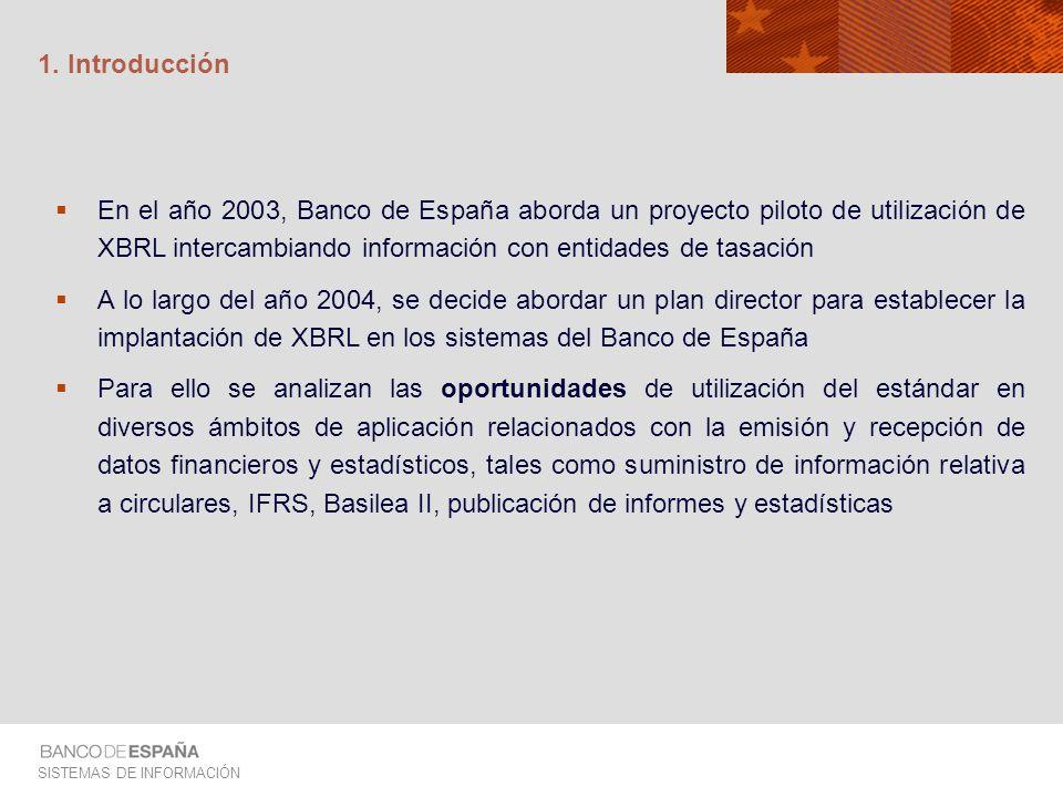 1. Introducción En el año 2003, Banco de España aborda un proyecto piloto de utilización de XBRL intercambiando información con entidades de tasación.