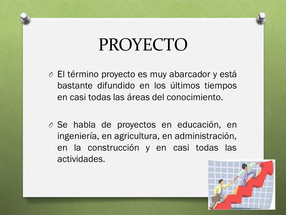 PROYECTO El término proyecto es muy abarcador y está bastante difundido en los últimos tiempos en casi todas las áreas del conocimiento.