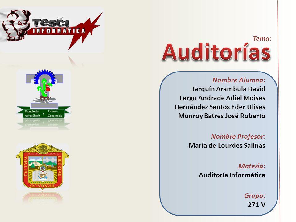 Auditorías Tema: Nombre Alumno: Jarquín Arambula David