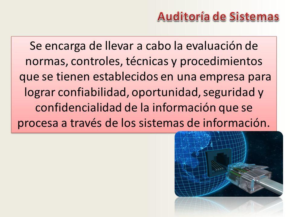 Auditoría de Sistemas Se encarga de llevar a cabo la evaluación de normas, controles, técnicas y procedimientos.