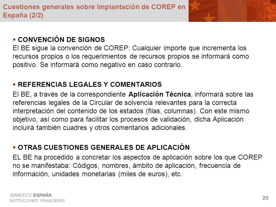 Cuestiones generales sobre implantación de COREP en España (2/2)
