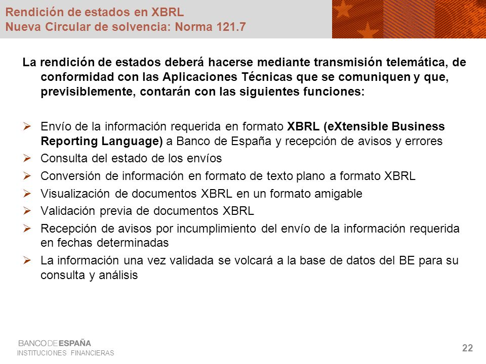 Rendición de estados en XBRL Nueva Circular de solvencia: Norma 121.7