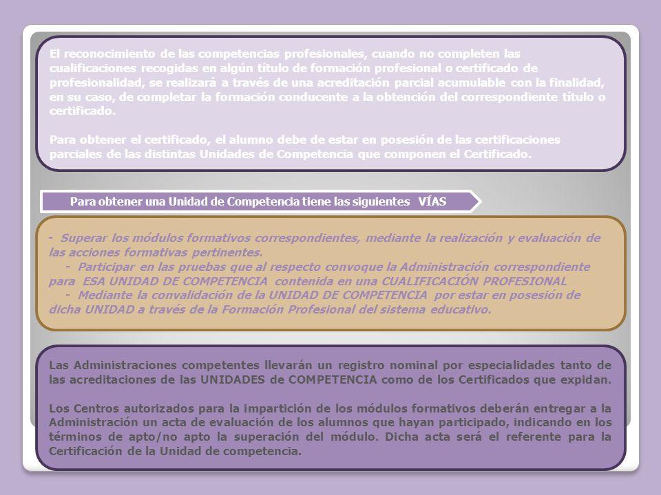 Para obtener una Unidad de Competencia tiene las siguientes VÍAS