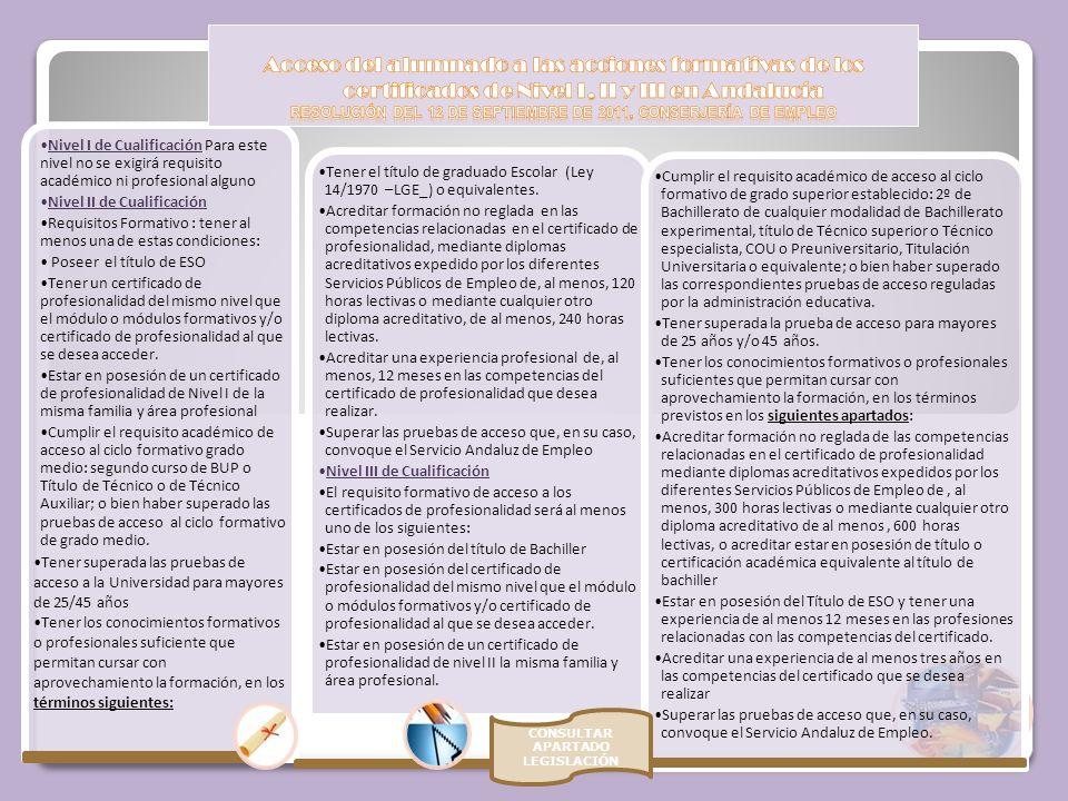 Acceso del alumnado a las acciones formativas de los certificados de Nivel I, II y III en Andalucía