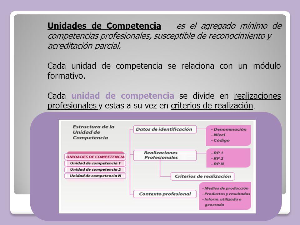 Unidades de Competencia es el agregado mínimo de competencias profesionales, susceptible de reconocimiento y