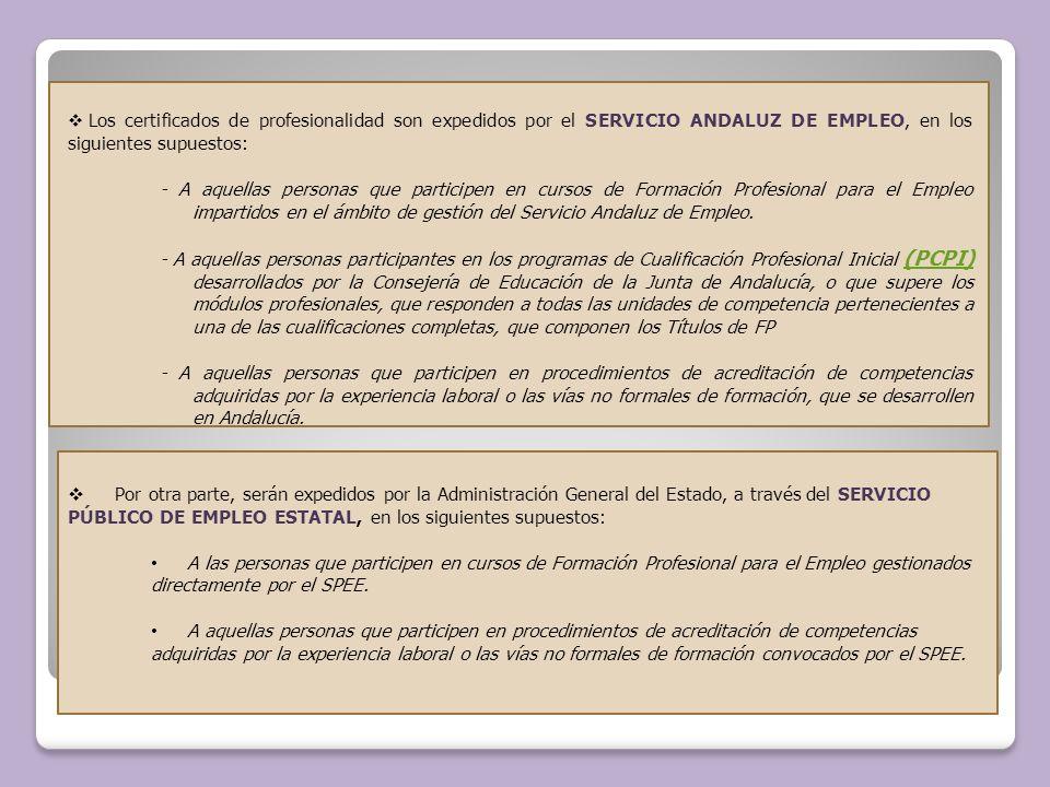 Los certificados de profesionalidad son expedidos por el SERVICIO ANDALUZ DE EMPLEO, en los siguientes supuestos: