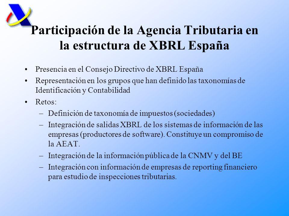 Participación de la Agencia Tributaria en la estructura de XBRL España