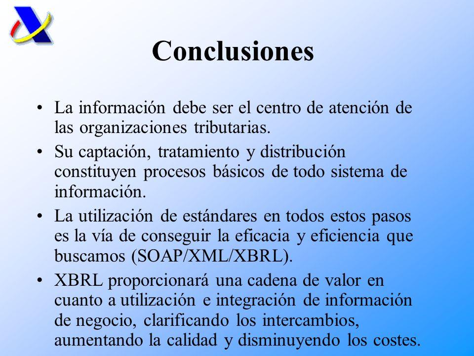 Conclusiones La información debe ser el centro de atención de las organizaciones tributarias.
