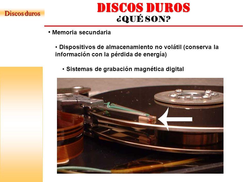 DISCOS DUROS ¿QUÉ SON Discos duros Memoria secundaria
