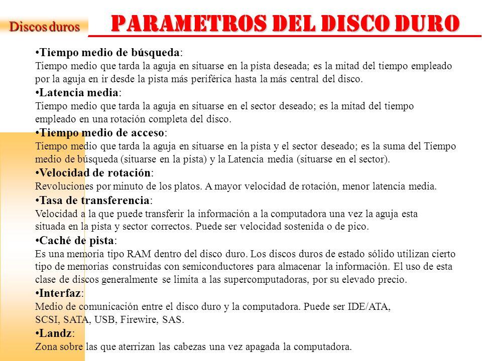 PARAMETROS DEL DISCO DURO