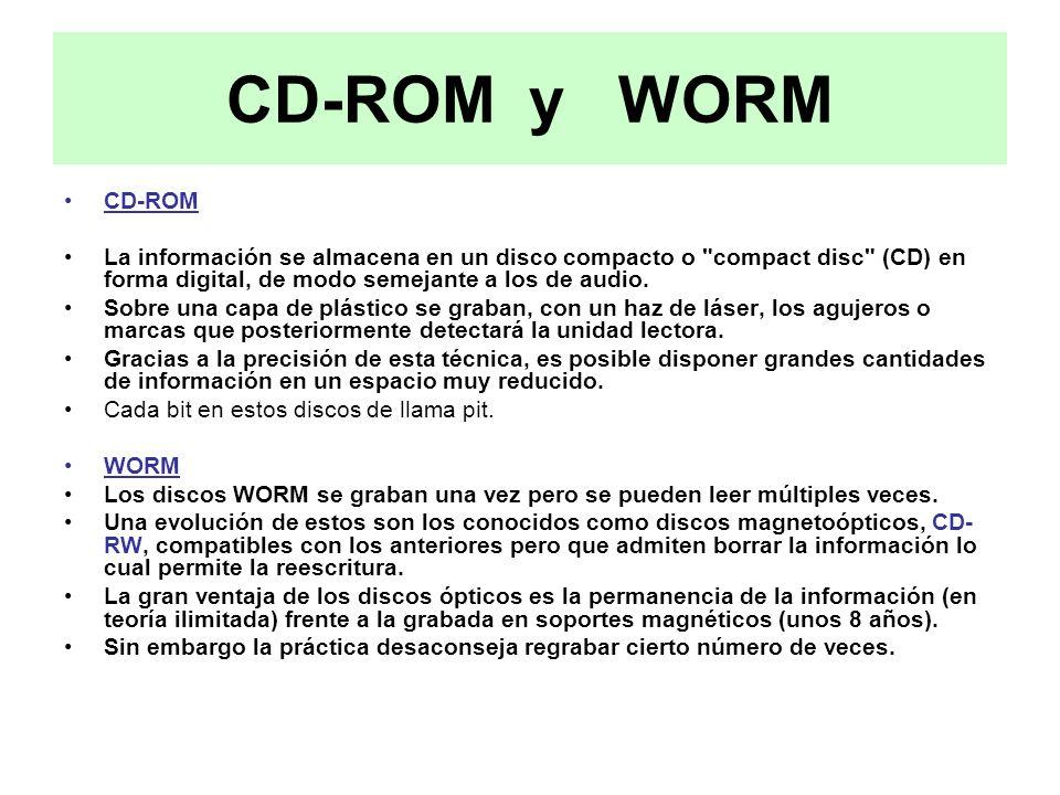 CD-ROM y WORM CD-ROM. La información se almacena en un disco compacto o compact disc (CD) en forma digital, de modo semejante a los de audio.