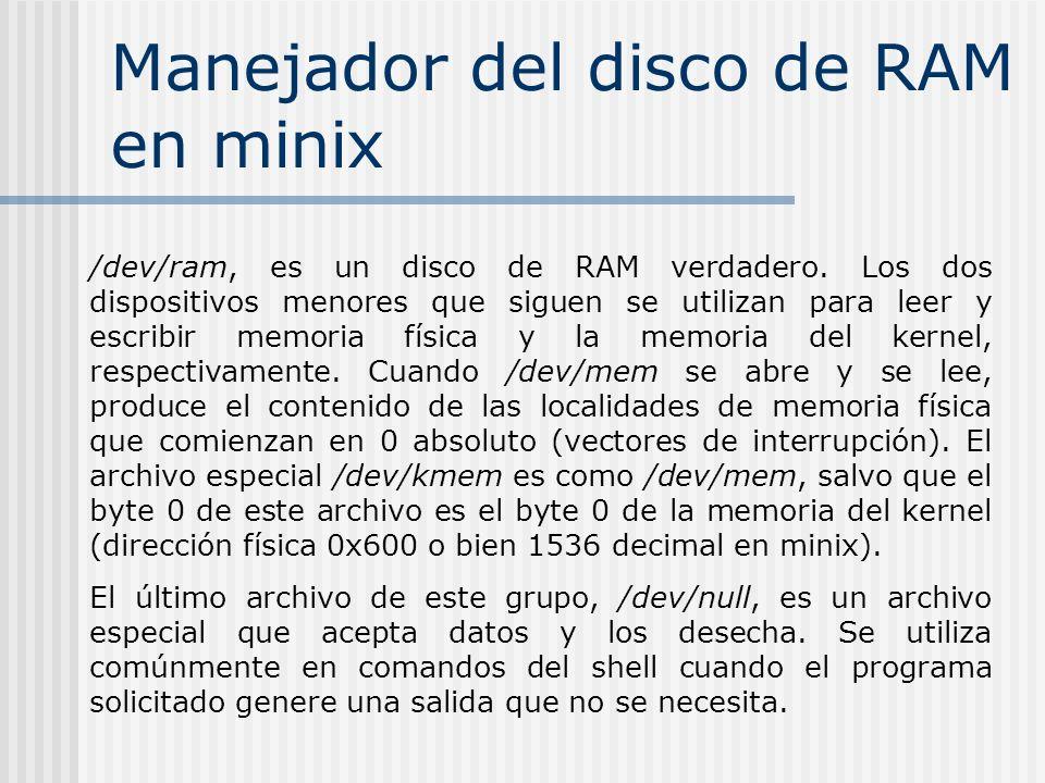 Manejador del disco de RAM en minix