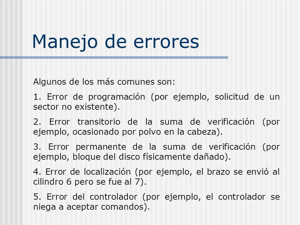 Manejo de errores Algunos de los más comunes son: