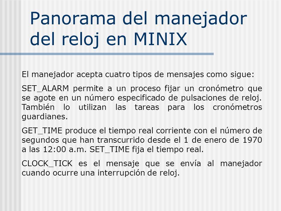 Panorama del manejador del reloj en MINIX