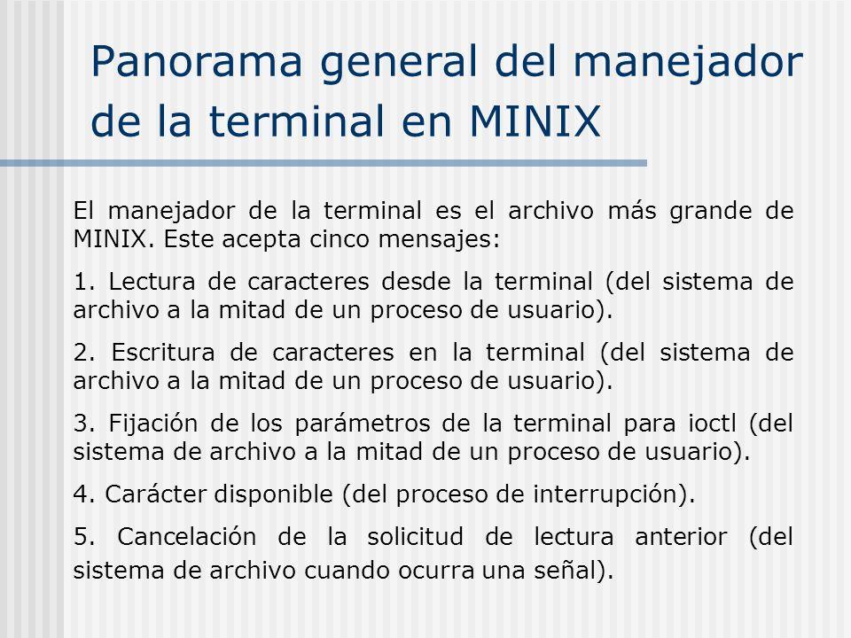 Panorama general del manejador de la terminal en MINIX