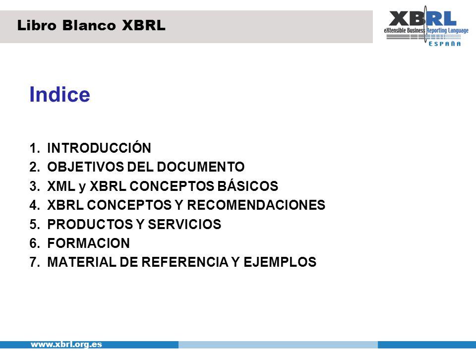 Indice Libro Blanco XBRL 1. INTRODUCCIÓN 2. OBJETIVOS DEL DOCUMENTO
