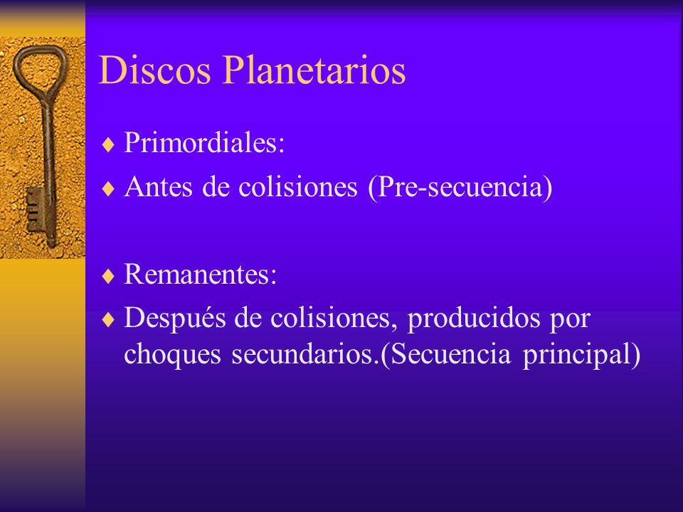 Discos Planetarios Primordiales: Antes de colisiones (Pre-secuencia)