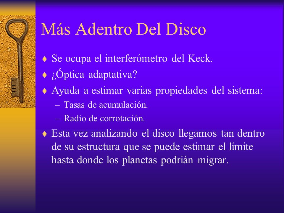Más Adentro Del Disco Se ocupa el interferómetro del Keck.