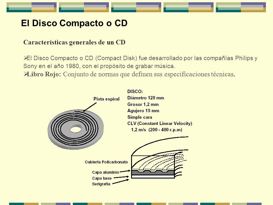 El Disco Compacto o CD Características generales de un CD