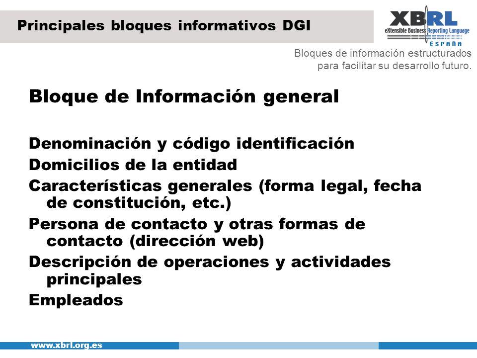 Principales bloques informativos DGI
