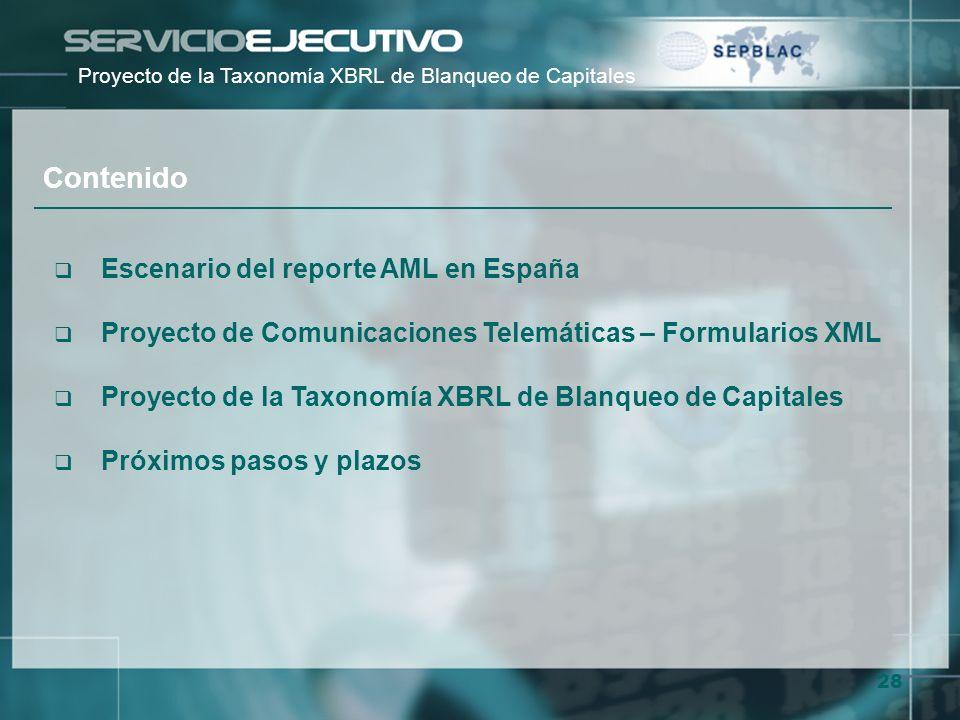 Contenido Escenario del reporte AML en España