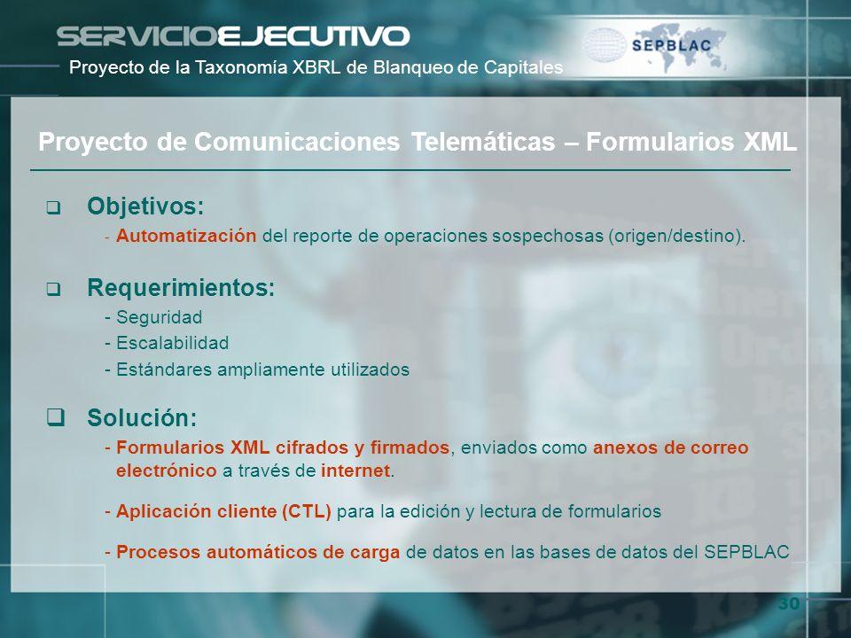 Proyecto de Comunicaciones Telemáticas – Formularios XML