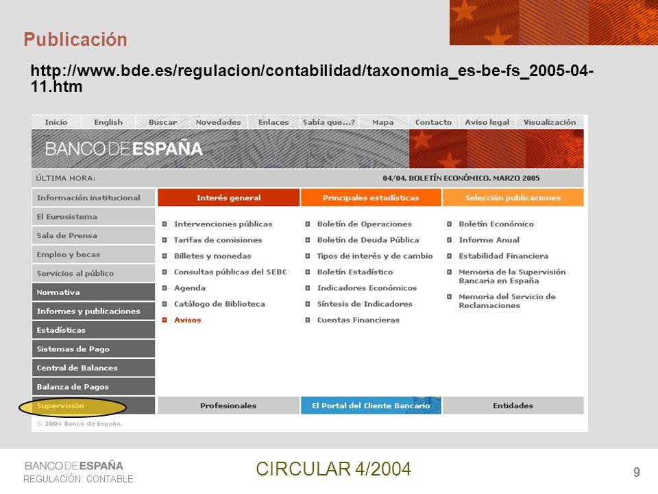 Publicación http://www.bde.es/regulacion/contabilidad/taxonomia_es-be-fs_2005-04-11.htm